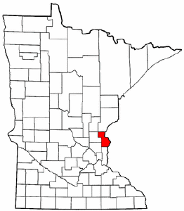 Minnesota Map showing Chisago County