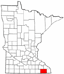 Minnesota Map showing Fillmore County