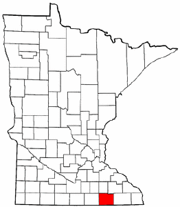Minnesota Map showing Mower County