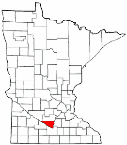 Minnesota Map showing Nicollet County