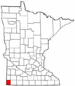 Minnesota Map showing Rock County