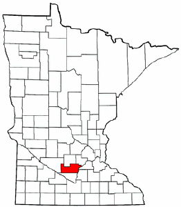 Minnesota Map showing Sibley County