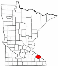 Minnesota Map showing Wabasha County