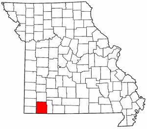 Missouri Map showing Barry County
