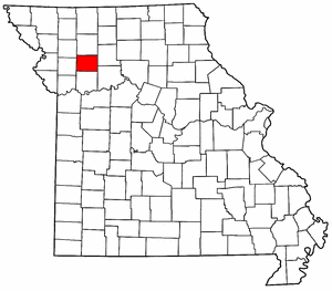 Missouri Map showing Caldwell County