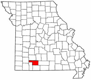 Missouri Map showing Christian County