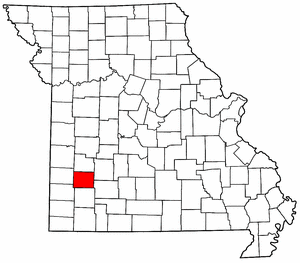 Missouri Map showing Dade County