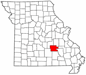 Missouri Map showing Dent County