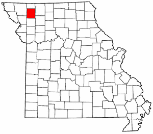 Missouri Map showing Gentry County