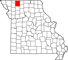 Missouri Map showing Harrison County