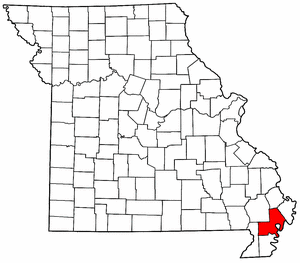 Missouri Map showing New Madrid County
