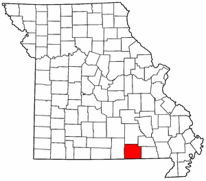 Missouri Map showing Oregon County