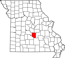 Missouri Map showing Pulaski County