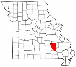 Missouri Map showing Reynolds County