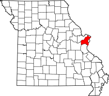 Missouri Map showing Saint Louis County