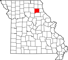 Missouri Map showing Shelby County