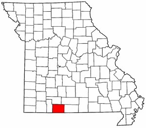 Missouri Map showing Taney County