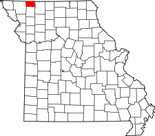 Missouri Map showing Worth County