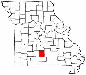 Missouri Map showing Wright County