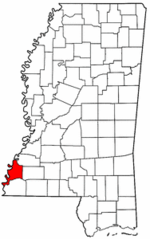 Mississippi Map showing Adams County