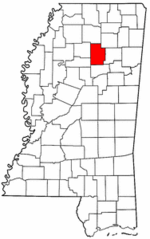 Mississippi Map showing Calhoun County