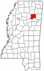 Mississippi Map showing Chickasaw County