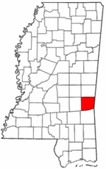 Mississippi Map showing Clarke County