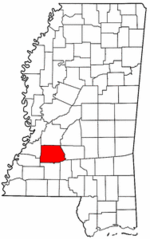 Mississippi Map showing Copiah County