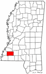 Mississippi Map showing Franklin County