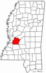Mississippi Map showing Hinds County