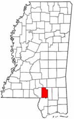 Mississippi Map showing Lamar County