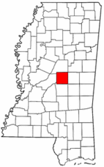 Mississippi Map showing Leake County