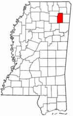 Mississippi Map showing Lee County