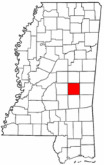 Mississippi Map showing Newton County