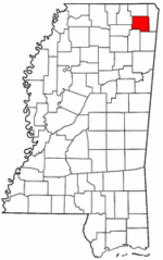 Mississippi Map showing Prentiss County