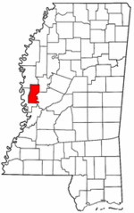 Mississippi Map showing Sharkey County
