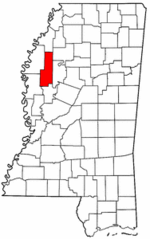 Mississippi Map showing Sunflower County