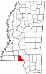 Mississippi Map showing Walthall County