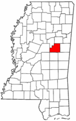 Mississippi Map showing Winston County