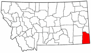 Montana Map showing Carter County