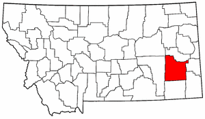 Montana Map showing Custer County