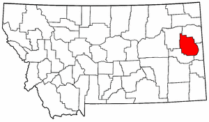 Montana Map showing Dawson County