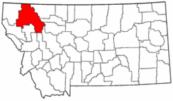 Montana Map showing Flathead County