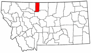 Montana Map showing Liberty County