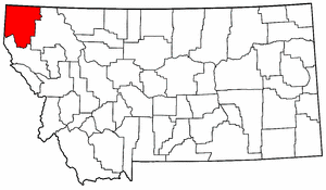 Montana Map showing Lincoln County