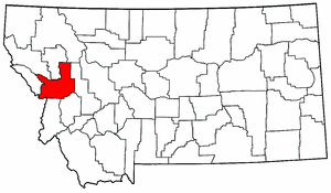 Montana Map showing Missoula County