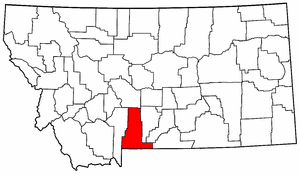 Montana Map showing Park County