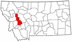 Montana Map showing Powell County