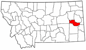Montana Map showing Prairie County