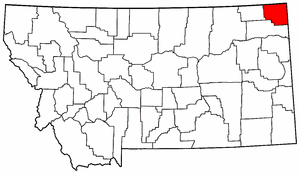 Montana Map showing Sheridan County